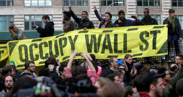 Occupy Wall Street protesters rally, New York City, Nov. 2011.