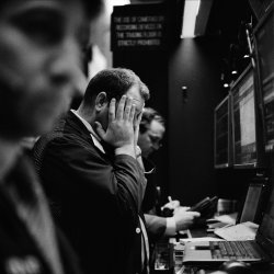 A trader reacts as the market drops, New York Stock Exchange, Feb. 2009.