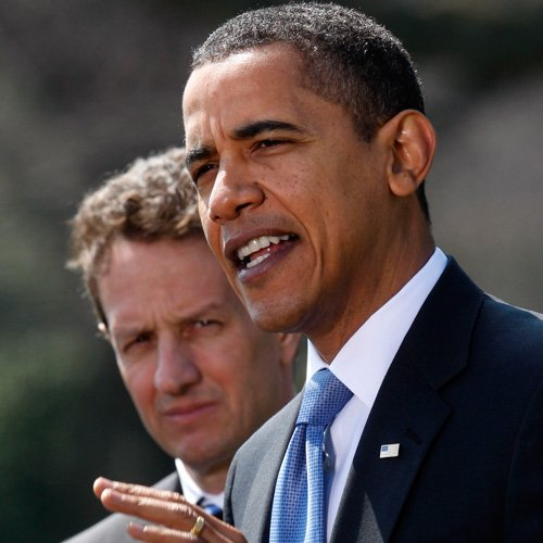 U.S. President Barack Obama with Treasury Secretary Timothy Geithner.