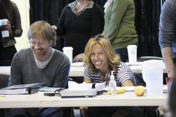 "Co-composer Trey Anastasio and lyricist/co-composer Amanda Green during rehearsal for the La Jolla Playhouse's new musical, ""Hands on a Hardbody."""