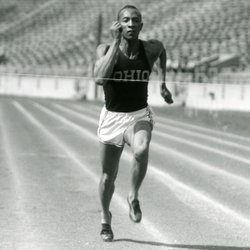 Jesse Owens training at Ohio State University, 1935.