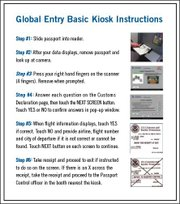 Instructions for using the Global Entry kiosk.