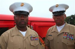 Gunnery Sgt. Maurice Bease and Sgt. Maj. Brian Taylor 