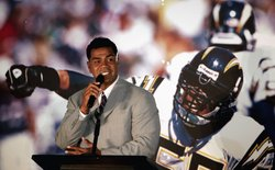Junior Seau speaks during a press conference to announce his retirement from the NFL on August 14, 2006 at the Chargers Training Camp in San Diego, California.