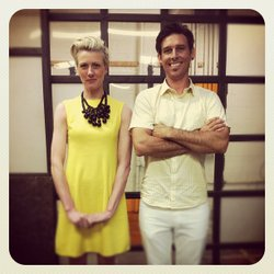 Barbara Rourke and Jason St. John, two of the three designers that make up the design company Bells and Whistles.