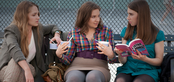 "Lena Dunham (center) writes, directs and stars in the new HBO series ""Girls."""