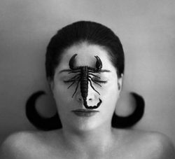 Marina Abramović, Portrait with Scorpion (Closed Eyes), Black and White Photograph, 125 x 145 cm. 2005.