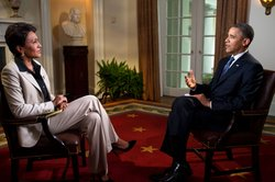U.S. President Barack Obama participates in an interview with Robin Roberts of ABC's Good Morning America, in the Cabinet Room of the White House on May 9, 2012 in Washington, DC. During the interview, President Obama expressed his support for gay marriage, a first for a U.S. president.