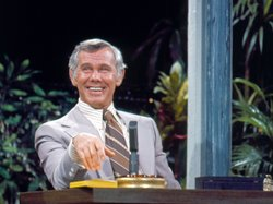 "Johnny Carson at ""The Tonight Show"" desk, circa 1970s."