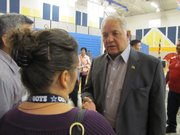 Silvestre Reyes, seen meeting with voters at a community meeting, is fighting to save his seat in U.S. Congress for the first time in 16 years.