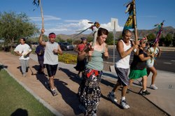Students and community members participate in a traditional ceremonial run from Tucson to Phoenix.