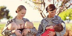 Terran Echegoyen-McCabe and Christina Luna breastfeeding in uniform