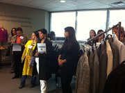 "Mexican attorneys and domestic violence specialists visit the ""Dress for Success"" program at San Diego's Family Justice Center. Here, women can pick up suits for court appointments or jobs."