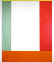 Robert Mangold&#39;s &quot;Four Color Frame Painting #4,&quot; 1984. Acrylic and black pencil on canvas; 10 x 7 feet. Collection the Nelson-Atkins Museum of Art. Purchase: acquired through the generosity of the William T. Kemper Foundation---Commerce Bank, Trustee, 2001.14.A-D.