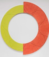 Robert Mangold&#39;s &quot;Split Ring Image 1,&quot; 2009. Acrylic, graphite and black pencil on canvas; 96 inches diameter. Private collection. Photo: G.R. Christmas.
