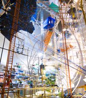 Sarah Sze&#39;s &quot;360 (Portable Planetarium),&quot; 2010. Mixed media, wood, paper, string, jeans, rocks; 162 x 136 x 185 inches. Tanya Bonakdar Gallery, New York. Collection National Gallery of Canada, Ottawa. Photo: Tom Powel.