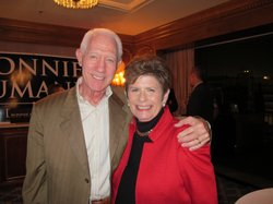 District Attorney Bonnie Dumanis poses with Larry Richman at the Westgate Hotel June 5, 2012 waiting for more returns to come in from primary voting.