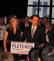 Former State Assemblyman Nathan Fletcher and his wife Mindy speak to reporters on Election Night 2012.