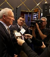 Mayor Jerry Sanders talks to KPBS reporters at Golden Hall on June 5, 2012.