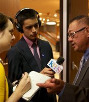 Mateo Camarillo talks to KPBS reporter Adrian Florido at Golden Hall on June 5, 2012.