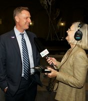 Scott Peters talks to KPBS reporter Alison St. John at Golden Hall on June 5, 2012.
