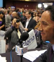 Todd Gloria talks to KPBS reporters at Golden Hall on June 5, 2012.