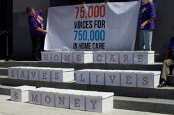 Union members gathered 75,000 signatures urging Gov. Brown and state lawmakers not to make additional cuts to in-home supportive services. Boxes of signatures were on display at Thursday's rally at the Capitol.