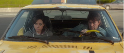 "Aubrey Plaza and Mark Duplass in the Sundance hit film ""Safety Not Guaranteed."""