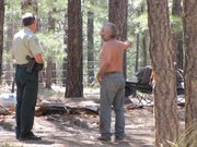 Coconino National Forest Patrol Captain Jon Nelson talks to Tim Johnson about fire restrictions.