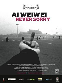 "Film poster for ""Ai Weiwei: Never Sorry""."
