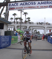 Day One: Mike Wilson takes off for the start of Race Across America from Oceanside Pier at 12:42pm on Wednesday, June 13, 2012.