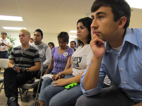 A group of young activists and supporters of the DREAM Act gathered in Las Vegas to watch President Obama's announcement of a new policy that spares certain young immigrants from deportation.
