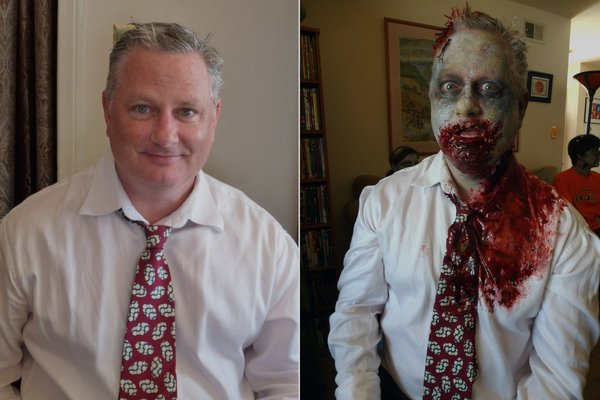 Volunteer zombie Rick Newmyer, before and after.