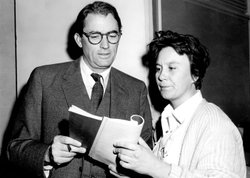 "Gregory Peck and writer Harper Lee at the premiere of ""To Kill a Mockingbird"" (1962), directed by Robert Mulligan."