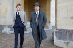 haun Evans as Endeavour Morse and Roger Allam as Detective Inspector Thursday.
