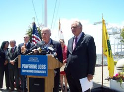 California Governor Jerry Brown and U.S. Transportation Secretary Ray Lahood praise last week's legislative vote to use billions of dollars in state bonds for high-speed rail.