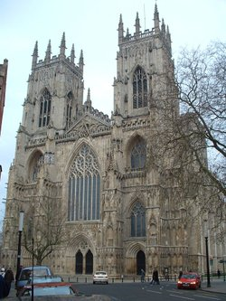 The western facing of York Minster, including the two west towers.