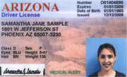 A sample Arizona driver license shown on the AZ Department of Transportation website.