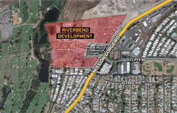 The location of the proposed Riverbend development.