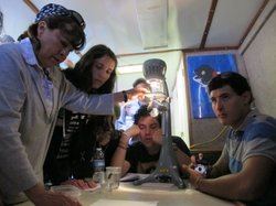 Patricia Moore examines water from San Diego Bay under a microscope with her students during a boat ride, July 26,2012.