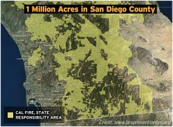 Cal Fire's state responsibility area (SRA) for San Diego County covers 1 million acres.  It's represented in yellow on this map.