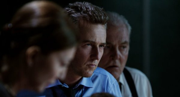 "Edward Norton's icy, calculating stare as Colonel Eric Byer in, ""The Bourne Legacy."""