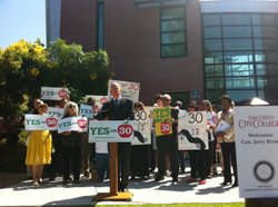 Governor Jerry Brown speaks in San Diego to campaign for his tax initiative, Proposition 30.