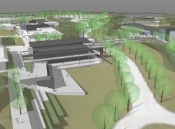 A rendering of the new instructional building that will house interdisciplinary classrooms and biological science labs