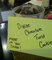 "I try to make themed desserts for the midnight shows so here are Divine's Chocolate Turd cookies for ""Pink Flamingoes."""