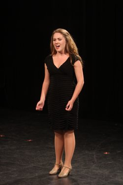 "Local rising theater star Nicolette Burton performing on the new PBS series, ""Broadway or Bust."""