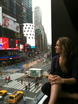 "Nicolette Burton takes a break from performing during her week in New York for the PBS series ""Broadway or Bust."""