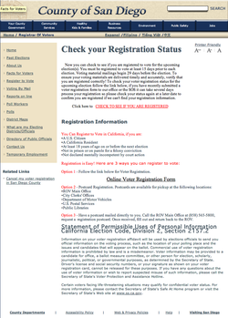 San Diego County's current online voter registration system, which does not allow voters to actually register directly online.