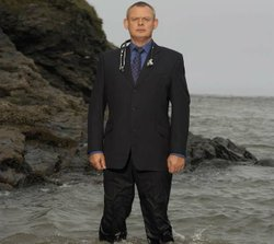 Martin Clunes as the brash doctor Martin Ellingham in the television series DOC MARTIN.
