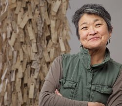 "Artist Wendy Maruyama with ""The Tag Project."""
